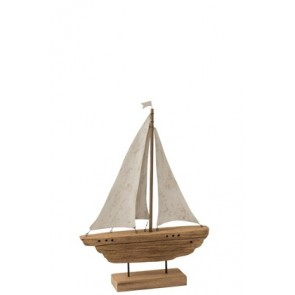 Barca 3 Vele Legno Naturale/Bianco 40.5X9X57