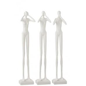 Statua non vedo/non sento/non parlo  Resina Biaco 13x10x60 (dimensione singola)