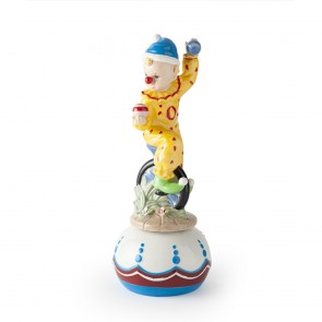 CARILLON CLOWN MONOCICLO PORCELLANA 22CM GIALLO ROYAL CLASS SCATOLA REGALO