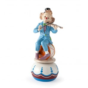 CARILLON CLOWN VIOLINO PORCELLANA 22CM AZZURRO ROYAL CLASS SCATOLA REGALO