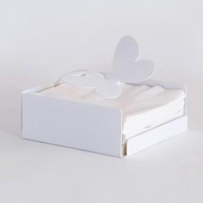 Porta tovaglioli farfalle in ferro bianco 17x17x7