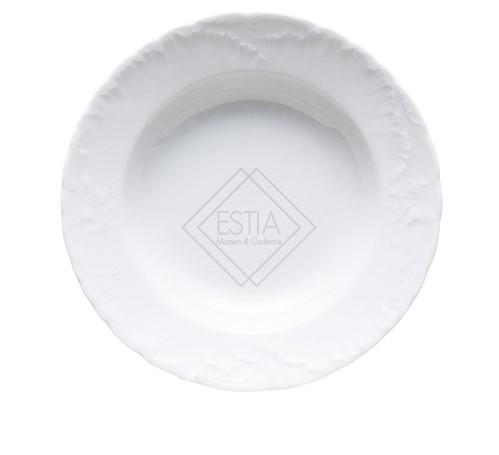 Servizio 12 Piatti fondi 22,5 cm Elisa Roccoco bianco