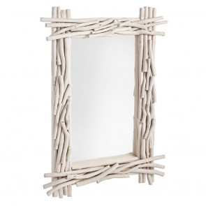Specchio sahel STRUTTURA IN RAMI DI TEAK SBIANCATO CON FINTURA A CERA 90a - 6b - 60h