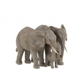 Elefante Coppia Coccolone Resina Grigio 30x21x23