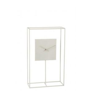 Orologio In Quadro Minimalista Metallo Bianco 33X13X55
