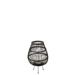 Lantern Daya Wood Matt Black Small 13X31X34