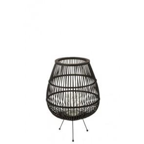 Lantern Daya Wood Matt Black Large 21.5X41X45