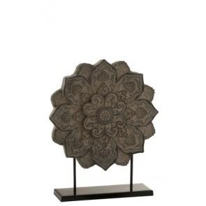 Mandala Decorazione  + Piede Resina Grigio 37x11x45cm
