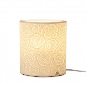 LAMPADA PORCELLANA RILIEVO ROSE 14X9X16.5CM(H) BIANCA BISQUIT 1.6MT CAVO ON/OFF E14 CON SCATOLA REGALO