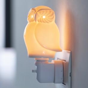 CIVETTA PUNTO LUCE NOTTURNA PORCELLANA 10CM BIANCA CON LAMPADA LED E14 230V/1W SCATOLA REGALO