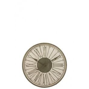 Orologio Numeri Romani Rotondo Metallo Bianco/Kaki 81.5X6