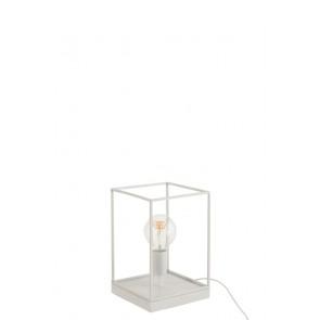 Lampada 1 Lampadina Rettangolare Quadro Metallo Bianco 20x20x30h