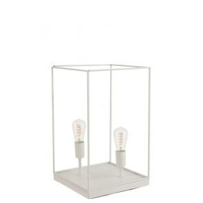 Lampada 2 Lampadine Rettangolare Quadro Metallo Bianco 30x30x51 cm