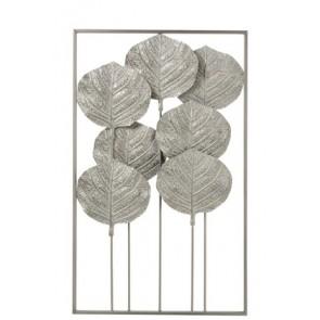 Decorazione Da Parete 7 Foglie Rettangolare Metallo Argento/Bianco 56x6x91