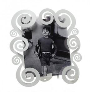 Porta foto piccolo con riccioli Cloe in ferro bianco marmo 24x25H(15x20H)
