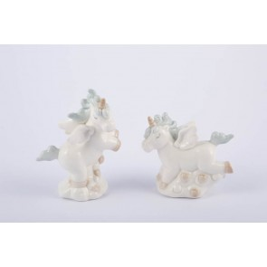 UNICORNO PORCELLANA CELESTE 2 ASSORTITI 7,5X7 CM