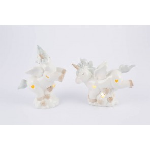 UNICORNO PORCELLANA LED CELESTE 2 ASSORTITI 12x5x10 CM