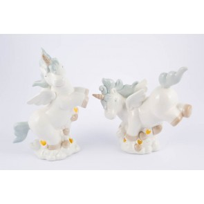UNICORNO PORCELLANA LED CELESTE 2 ASSORTITI 15,5x6,5x16 CM