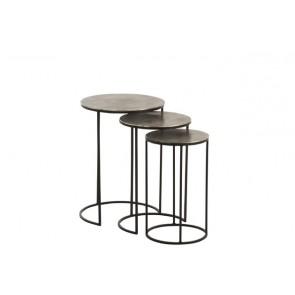 Set 3 Tavolini Rotondo Alluminio Nero/Grigio 46.5X 43X61.5