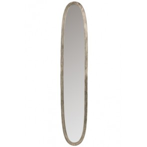 Specchio Ovale Alluminio/Vetro Antico Grigio Large 33X180