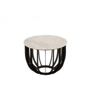 Tavolino Rotondo Marrone/Ferro Bianco/Nero 50X50X38