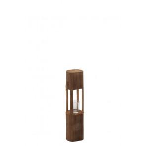 Portacandele Legno/Vetro Marrone Small 13X13X49