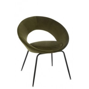 Sedia Rotonda Buco Metallo/Tessuto Verde 69x56x80