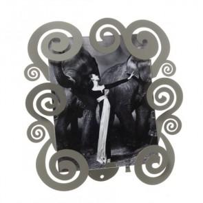 Porta foto grande con spirali Cloe in ferro 31x31H(20x25H) fango