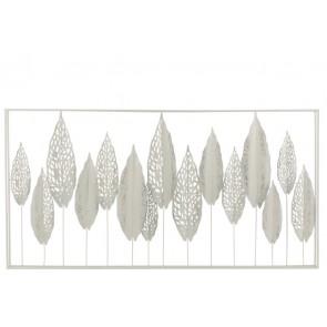 Decorazione Da Parete Foglie Metallo Bianco 135x69