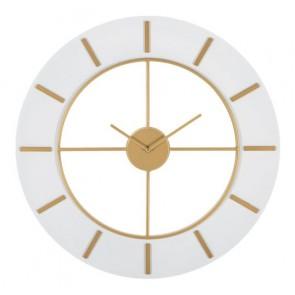 Orologio da muro in legno e ferro white e gold diam60x4.5
