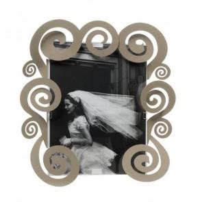 Porta foto grande con spirali Cloe in ferro 31x31H(20x25H) beige